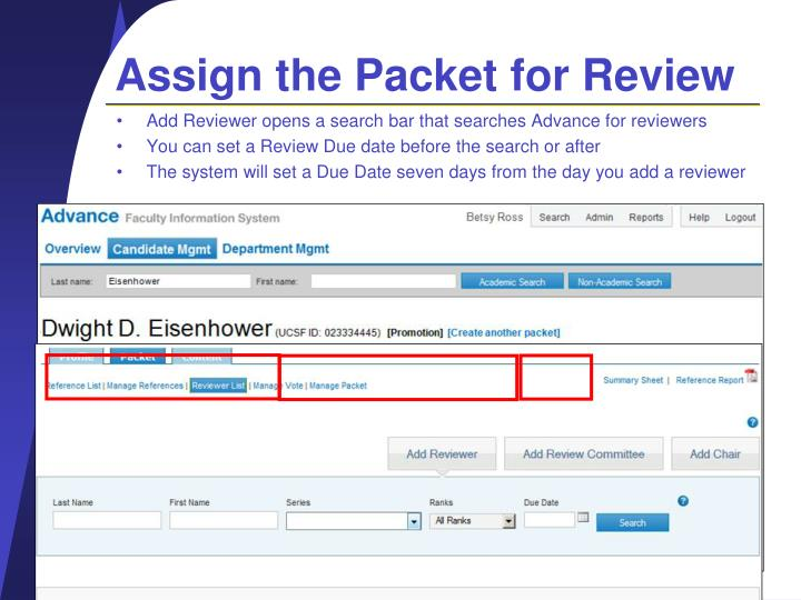 Assign the Packet for Review