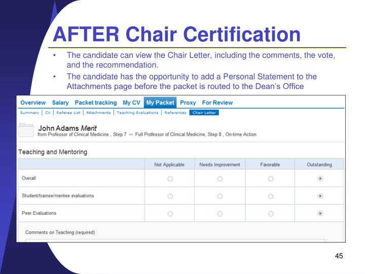 AFTER Chair Certification