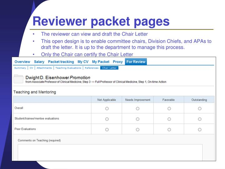 Reviewer packet pages