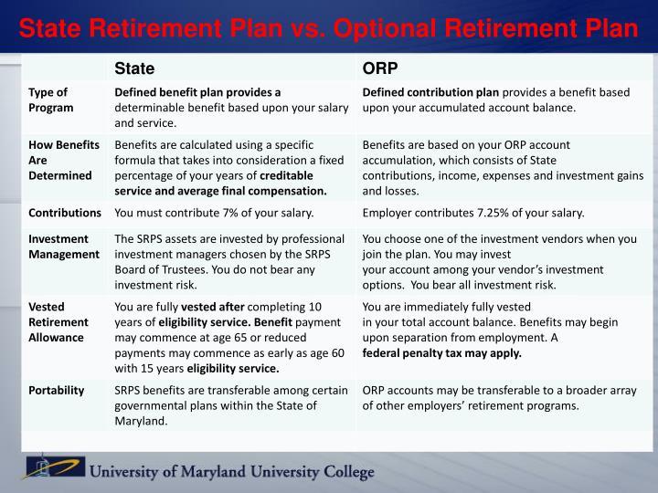 State Retirement Plan vs. Optional Retirement Plan