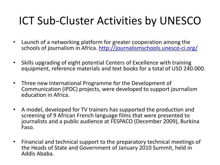 ICT Sub-Cluster Activities by UNESCO