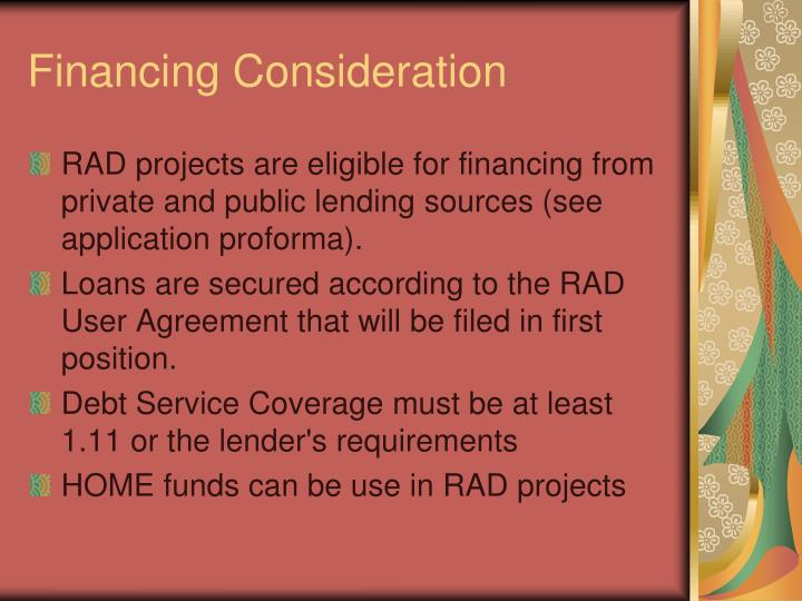 Financing Consideration
