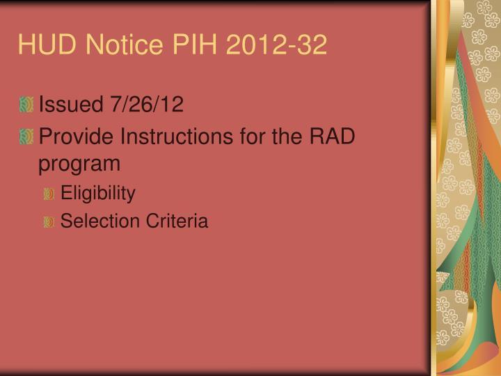 HUD Notice PIH 2012-32