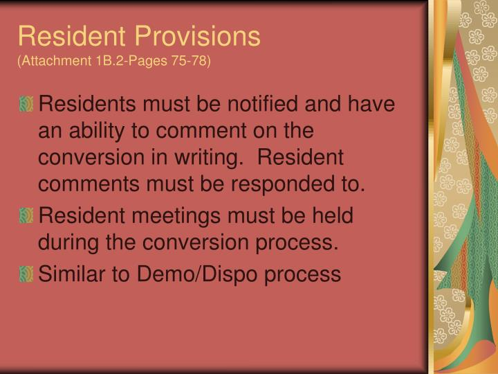 Resident Provisions