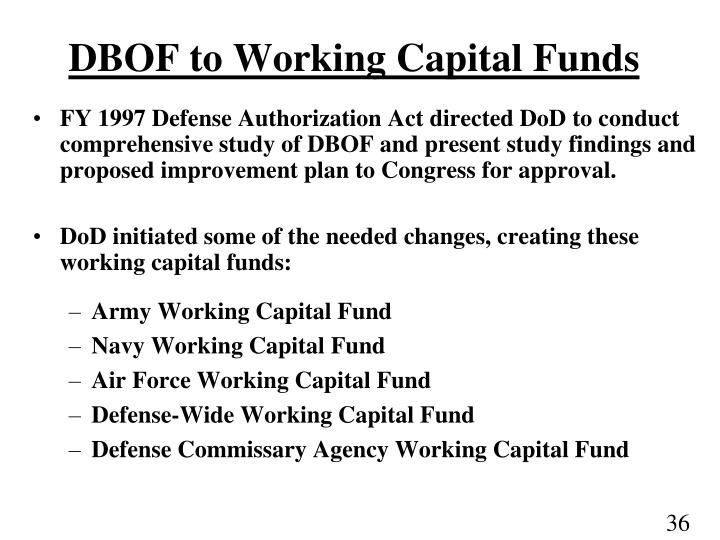 DBOF to Working Capital Funds