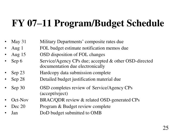 FY 07–11 Program/Budget Schedule