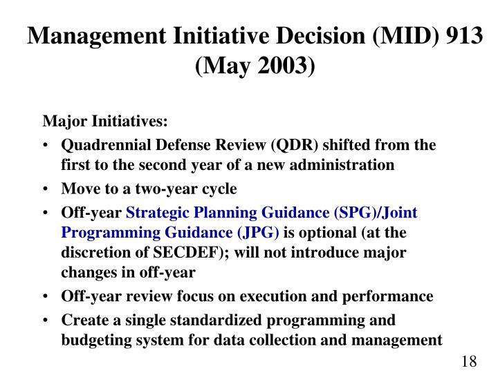 Management Initiative Decision (MID) 913 (May 2003)