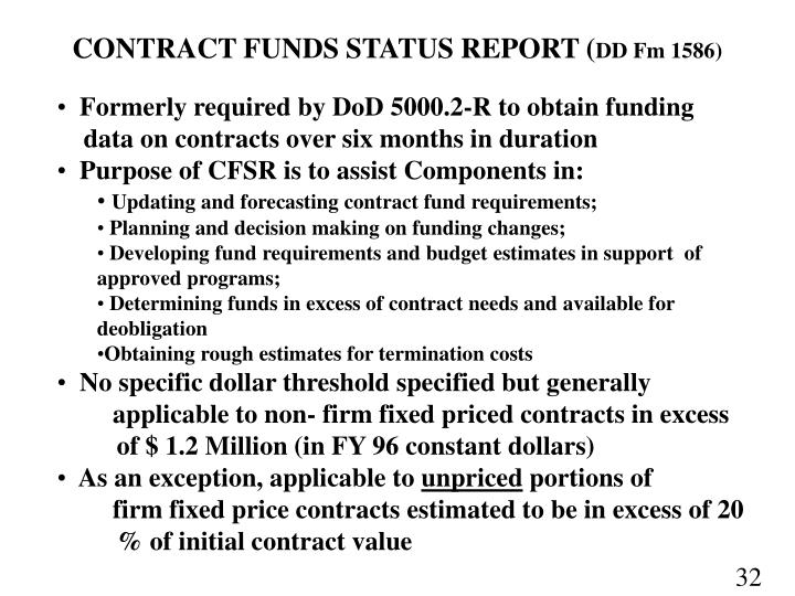 CONTRACT FUNDS STATUS REPORT (