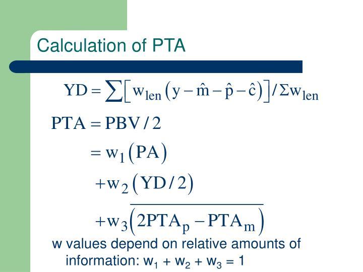 Calculation of PTA