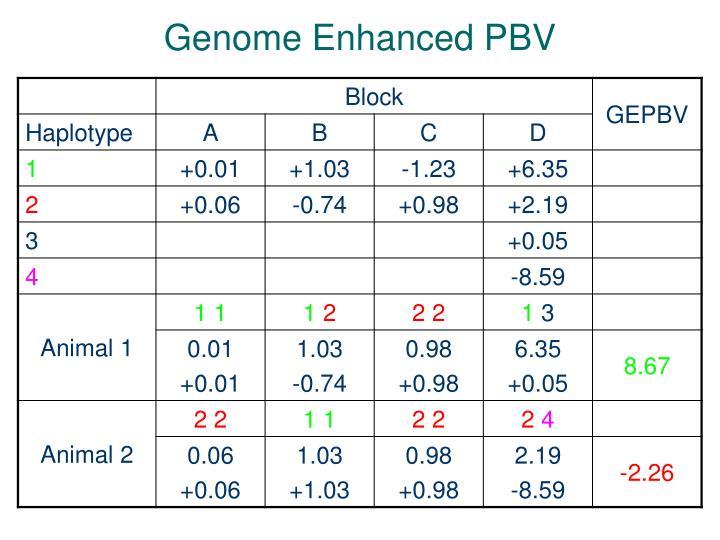 Genome Enhanced PBV
