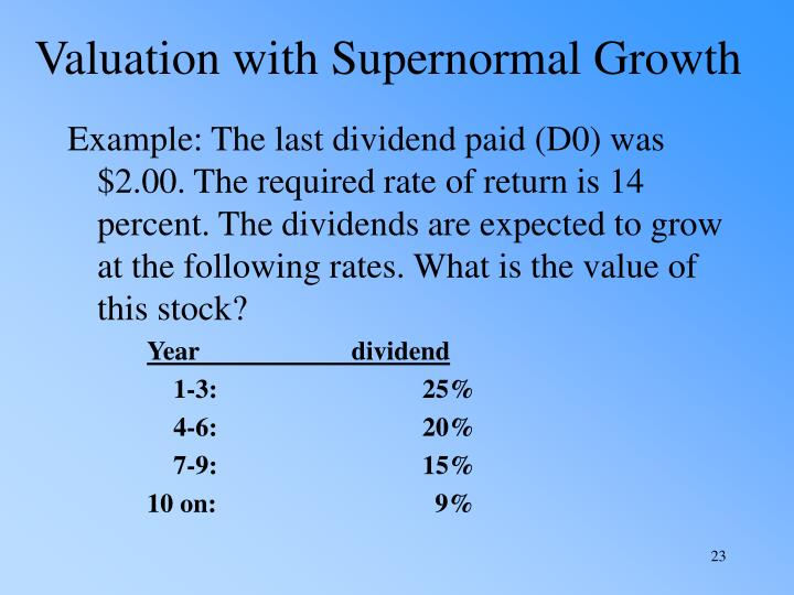 Valuation with Supernormal Growth