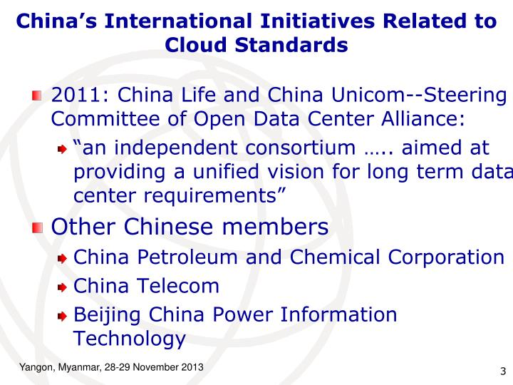 China's International Initiatives Related to Cloud Standards