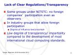 lack of clear regulations transparency1