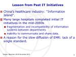 lesson from past it initiatives