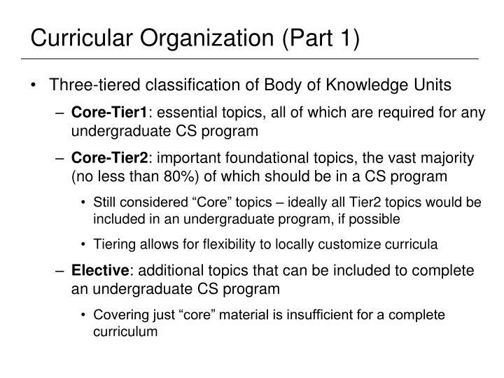 Curricular Organization (Part 1)