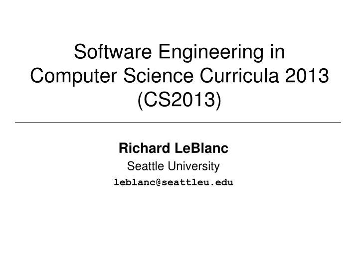 Software Engineering in