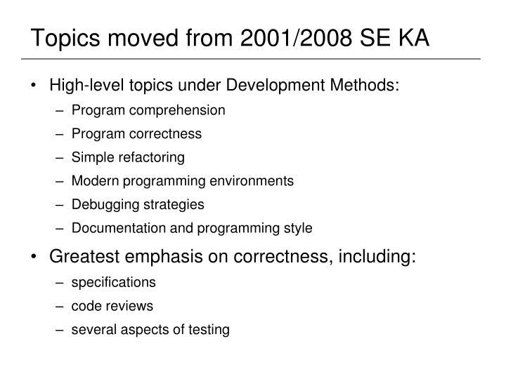 Topics moved from 2001/2008 SE KA