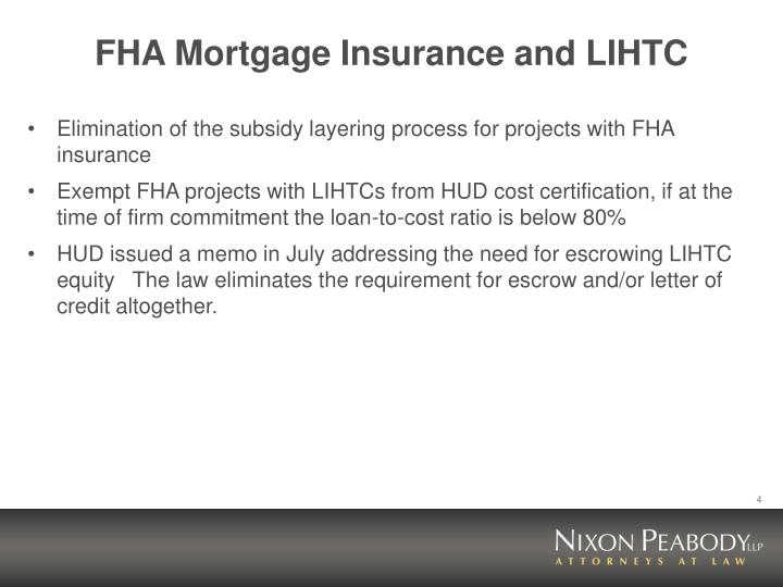 FHA Mortgage Insurance and LIHTC