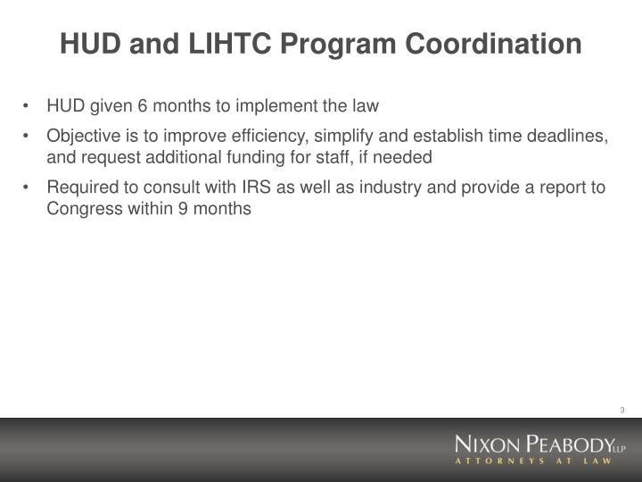 Hud and lihtc program coordination
