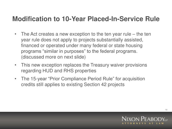 Modification to 10-Year Placed-In-Service Rule