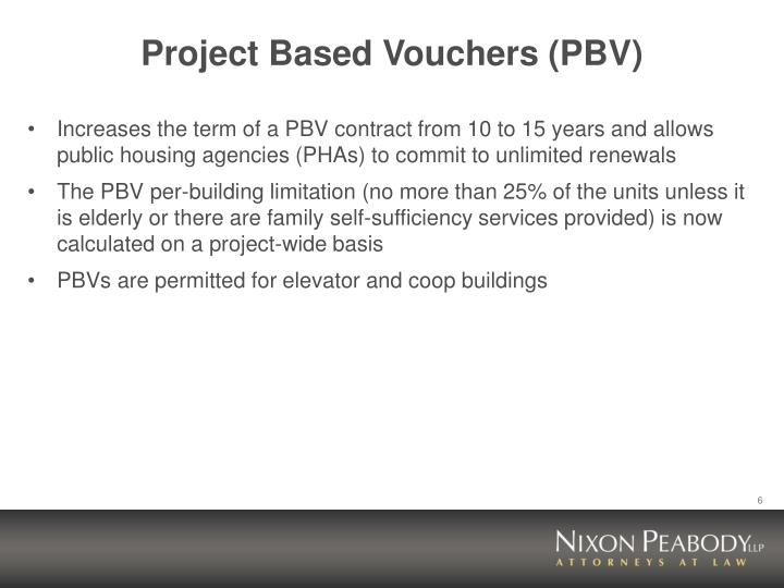 Project Based Vouchers (PBV)
