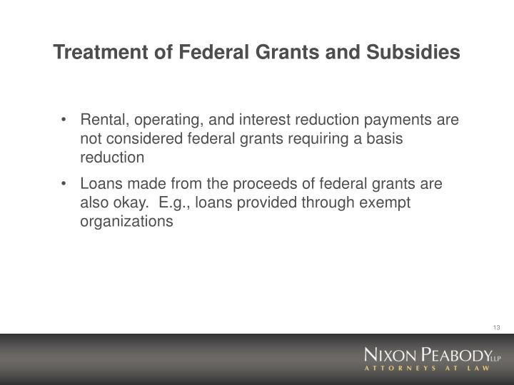 Treatment of Federal Grants and Subsidies