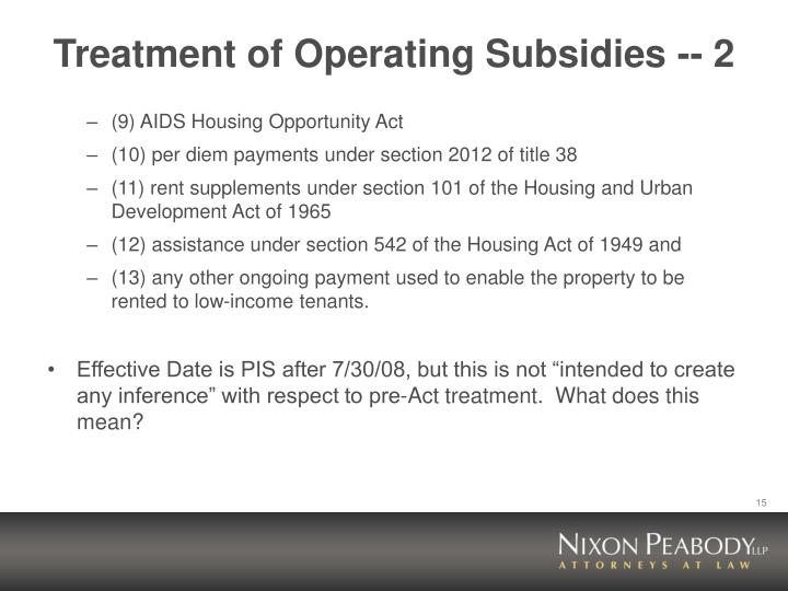 Treatment of Operating Subsidies -- 2