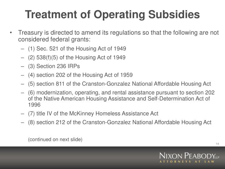 Treatment of Operating Subsidies