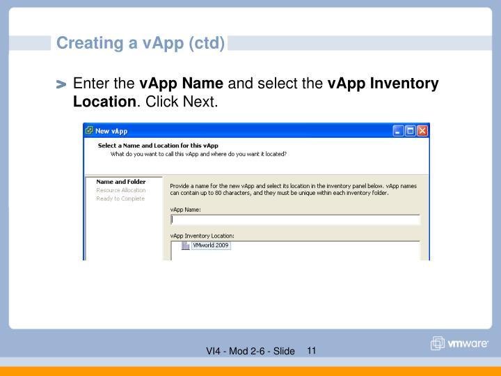 Creating a vApp (ctd)