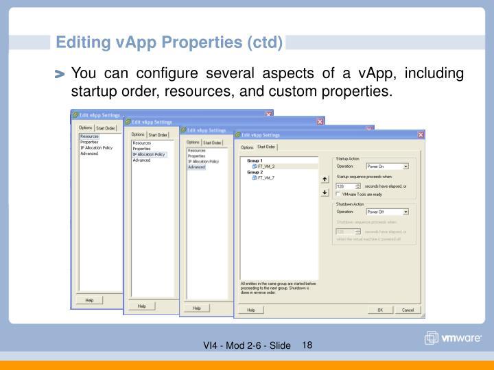 Editing vApp Properties (ctd)