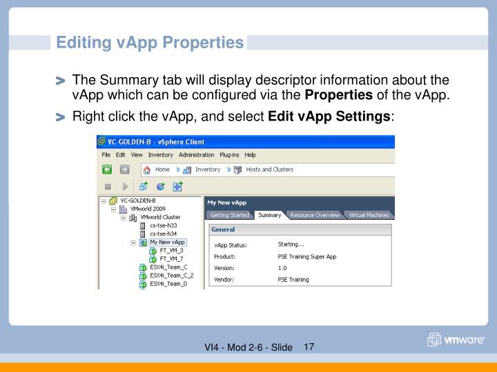 Editing vApp Properties