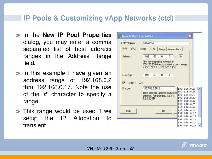 IP Pools & Customizing vApp Networks (ctd)