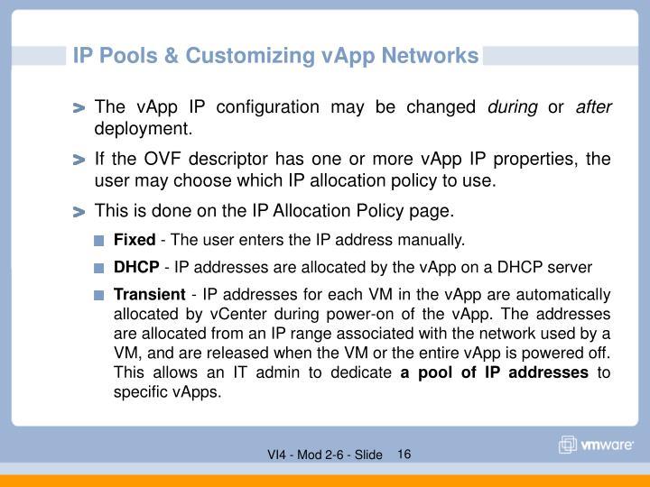 IP Pools & Customizing vApp Networks