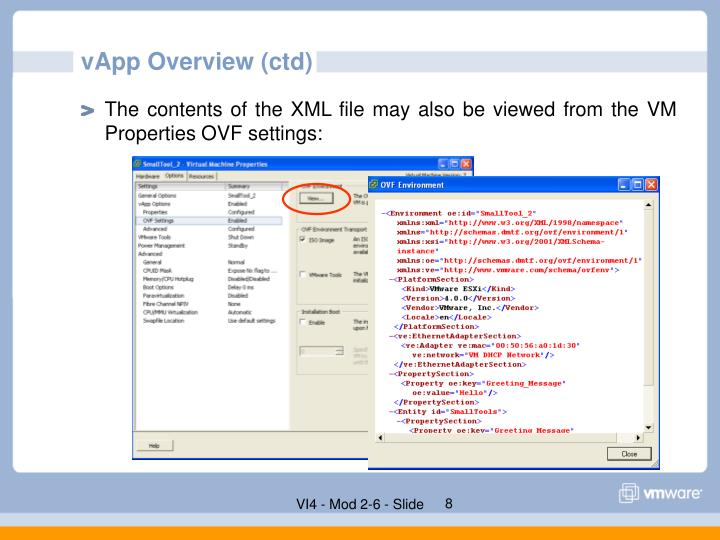 vApp Overview (ctd)