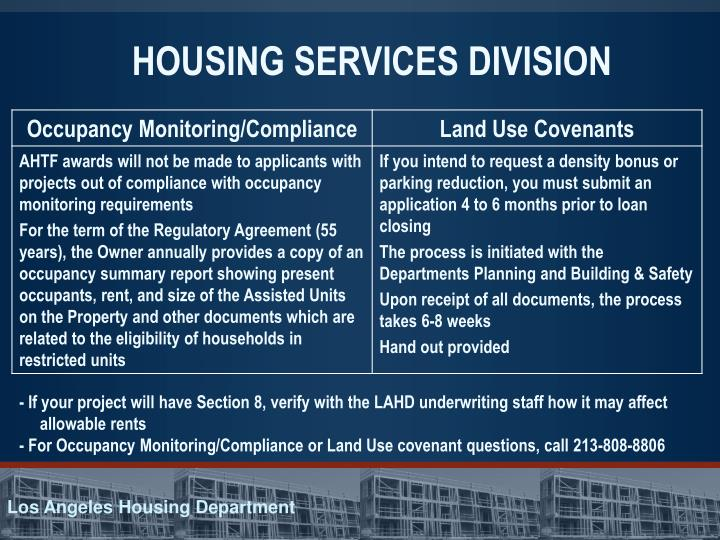 HOUSING SERVICES DIVISION