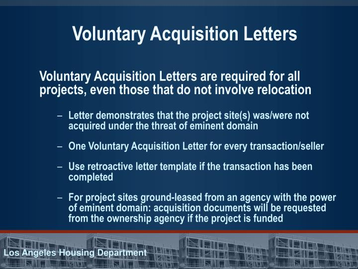 Voluntary Acquisition Letters