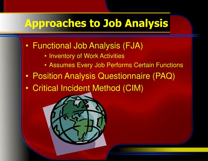 Approaches to Job Analysis