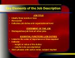 key elements of the job description