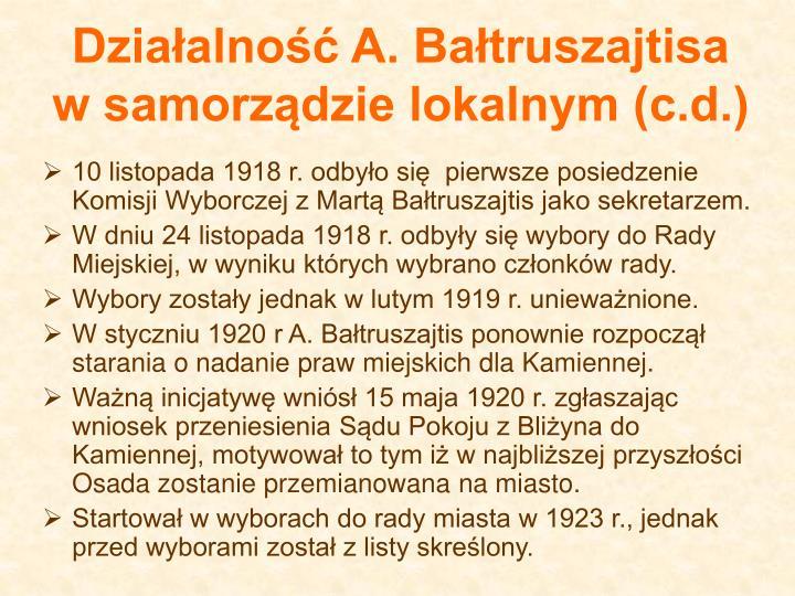 Działalność A. Bałtruszajtisa