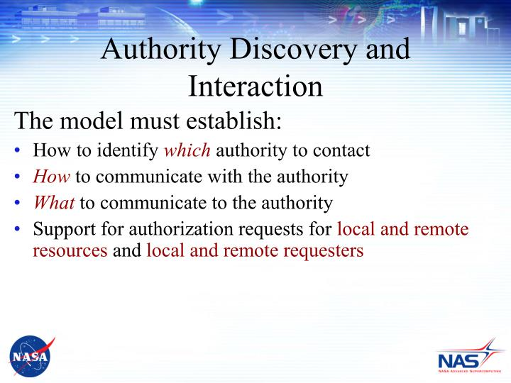 Authority Discovery and Interaction