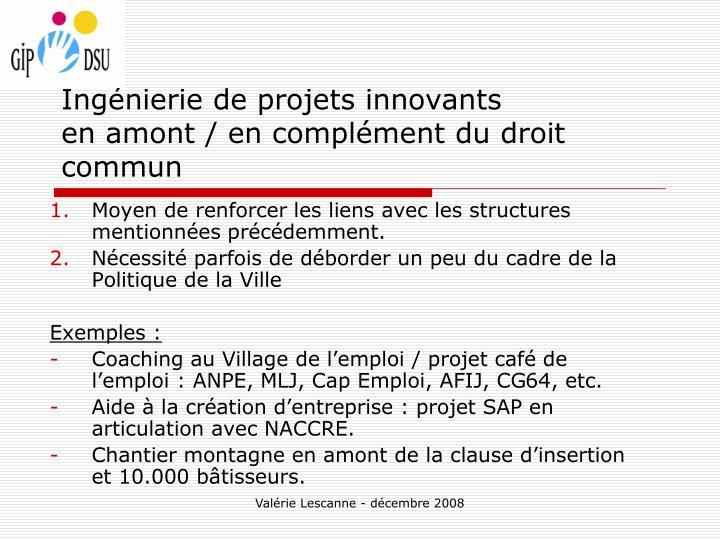 Ingénierie de projets innovants