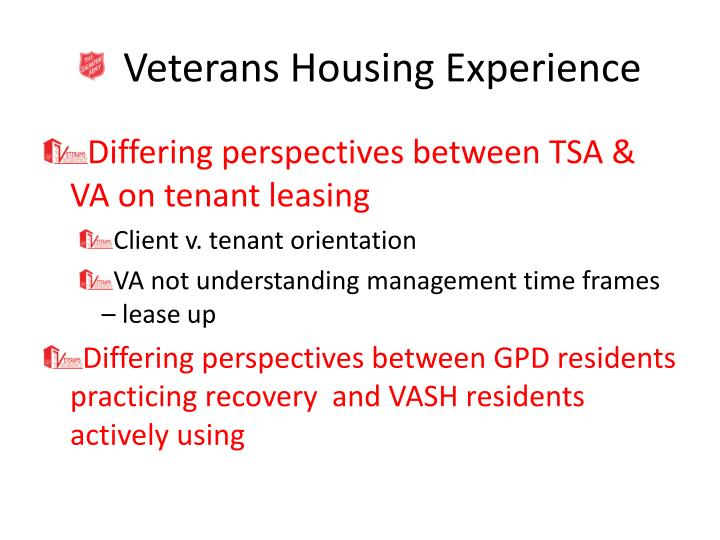 Veterans Housing Experience