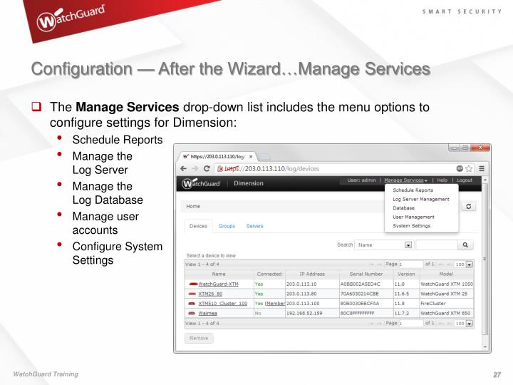 Configuration — After the Wizard…Manage Services