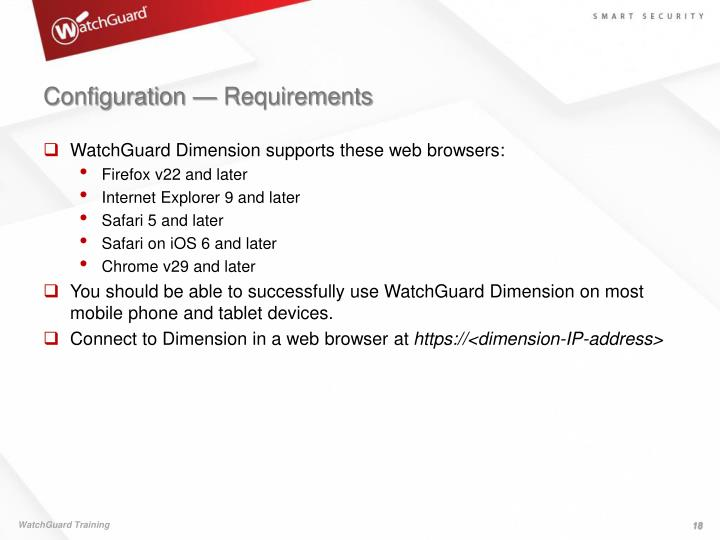 Configuration — Requirements