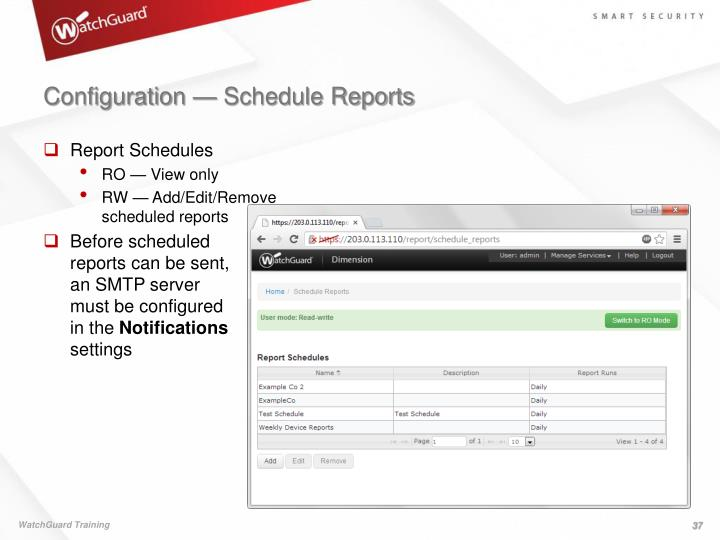 Configuration — Schedule Reports