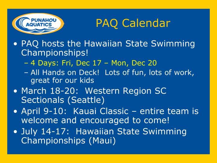 PAQ Calendar