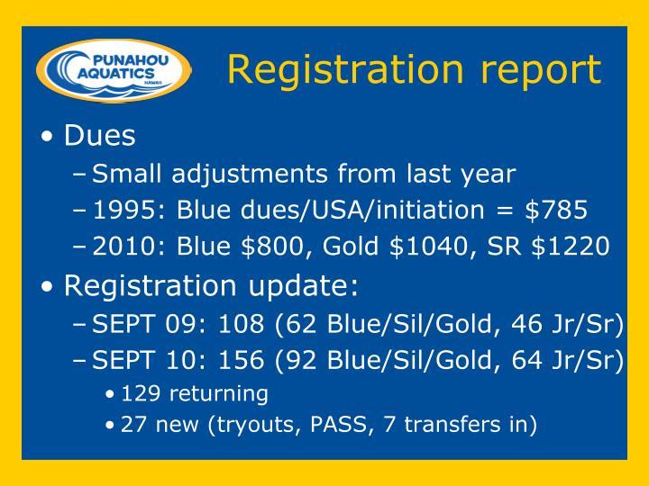 Registration report