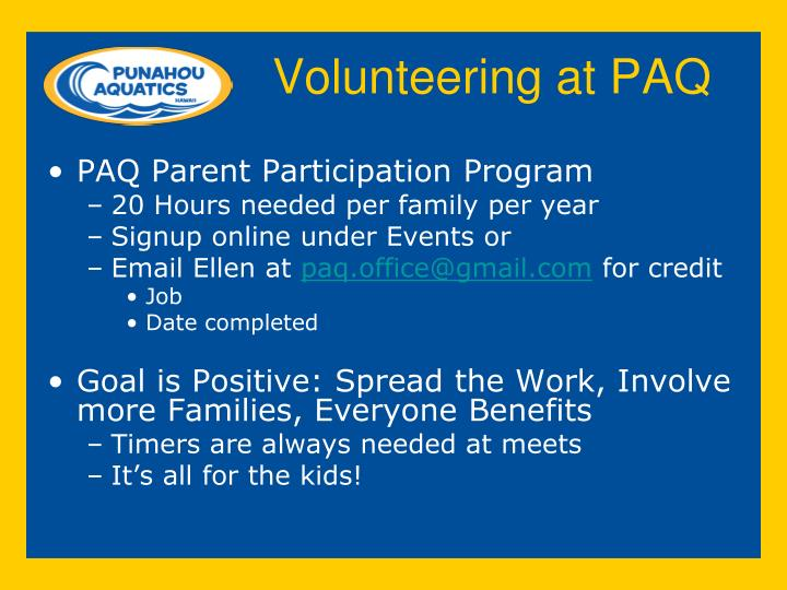 Volunteering at PAQ