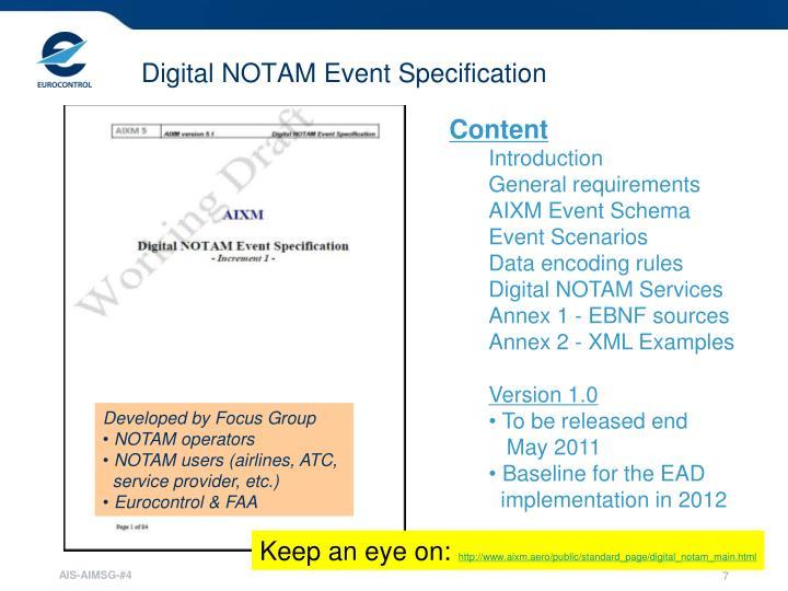 Digital NOTAM Event Specification