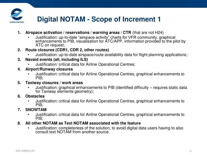 Digital NOTAM - Scope of Increment 1